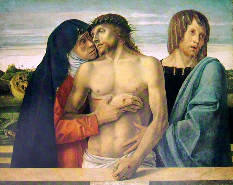 Giovanni Bellini: Pietà o Cristo morto sorretto dalla Madonna e da San Giovanni