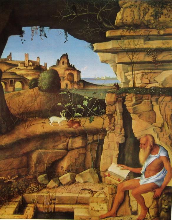 Giovanni Bellini: San Gerolamo leggente in un paesaggio (Washington)