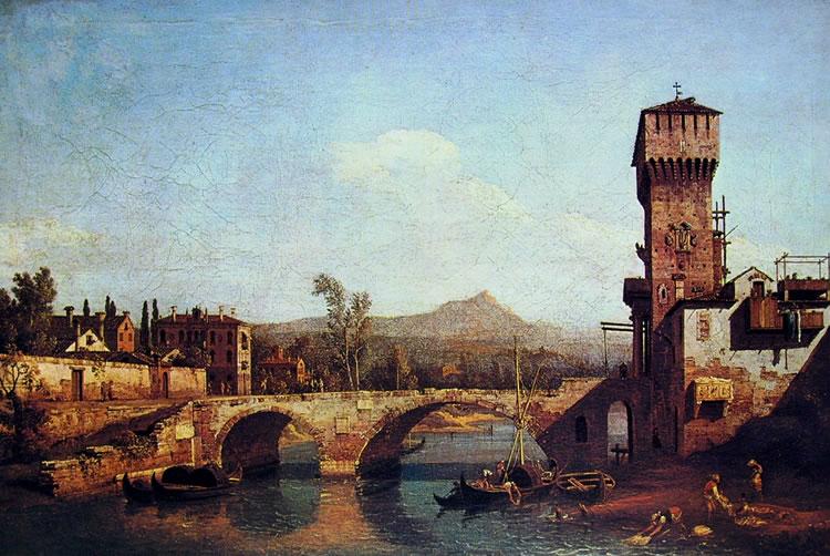 Bellotto: Capriccio veneto con fiume, ponte e porta turrita medievale