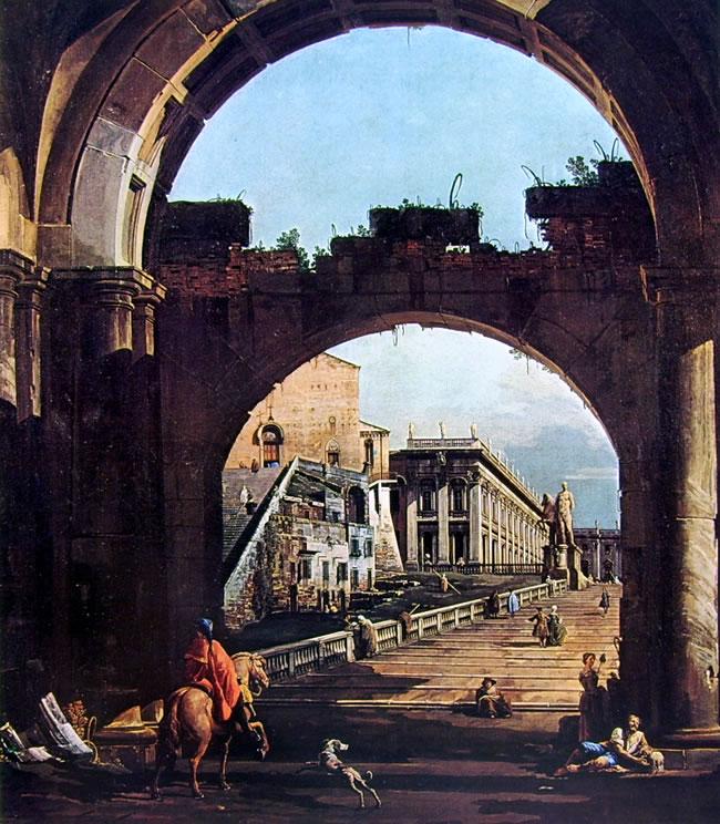 Bellotto: Capriccio romano con il Campidoglio