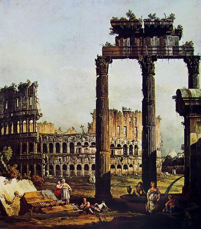 Bellotto: Capriccio romano con il Colosseo e i resti del tempio di Vespasiano