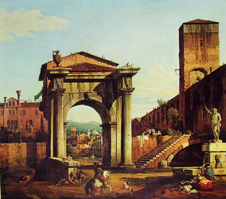 Bellotto: Capriccio romano con Porta Civica e mura turrite
