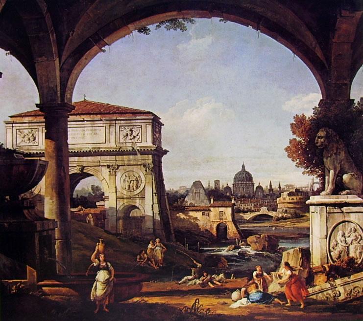Bellotto: Capriccio Romano con Arco Trionfale, la piramide di Cestio