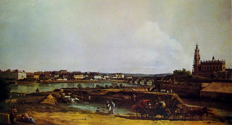 Bellotto: Dresda - l'Elba al bastione Sol, dal prato delle scuderie reali