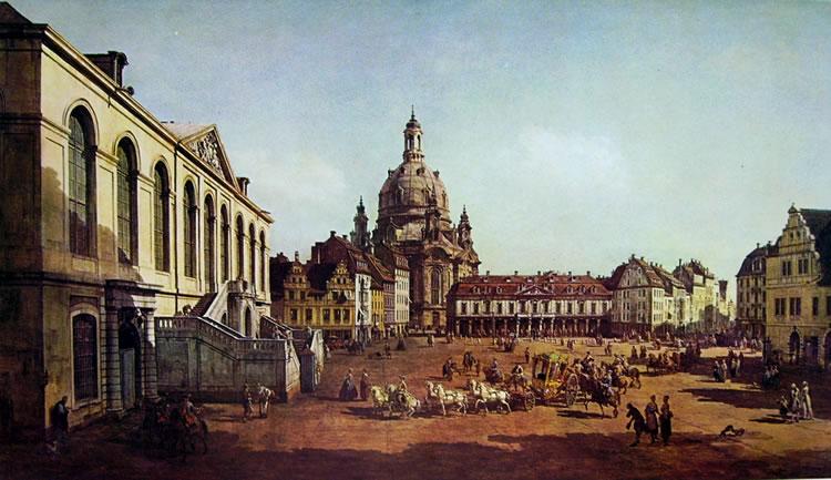 Bellotto: Dresda, La piazza del mercato nuovo, dallo Judenhof verso la Fraunkirche