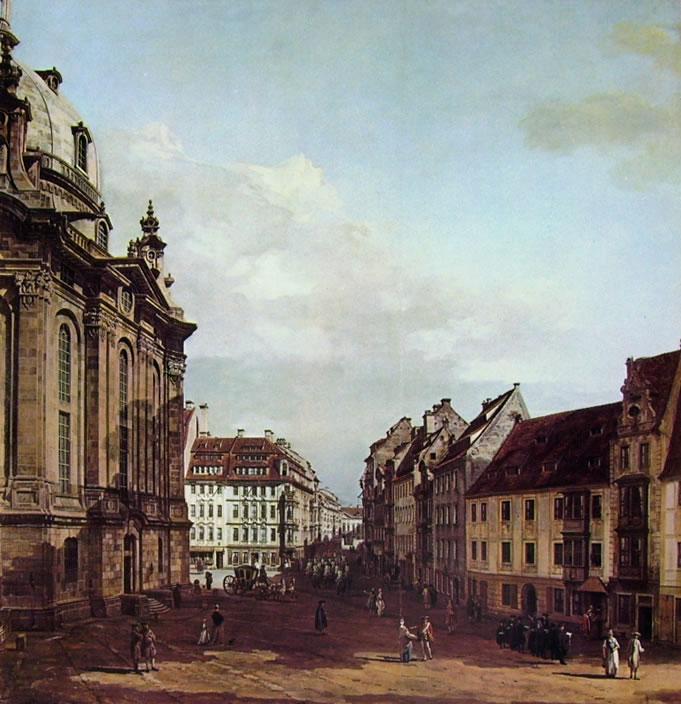 Bellotto: Dresda - La Frauenkirche, dall'antico corpo di guardia verso il palazzo Curlandese, cm. 193 x 186,