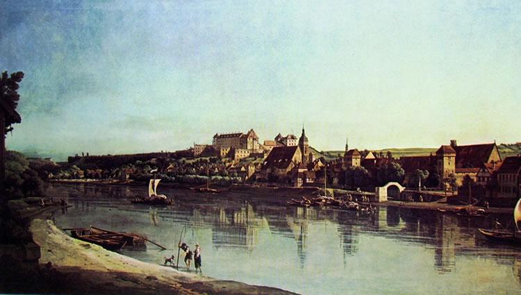 Bellotto: Pirna - l'Elba da Copitz verso la Fortezza di Sonnenstein