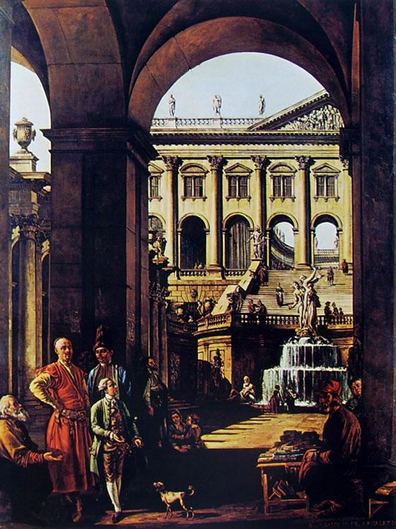 Bellotto: Capriccio con palazzo, porticato e loggiato, fontana monumentale e il Vojoda Potocki