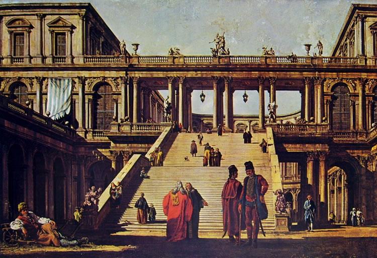 Bellotto: Capriccio, con cortili, scalinata e edificio loggiato e porticato