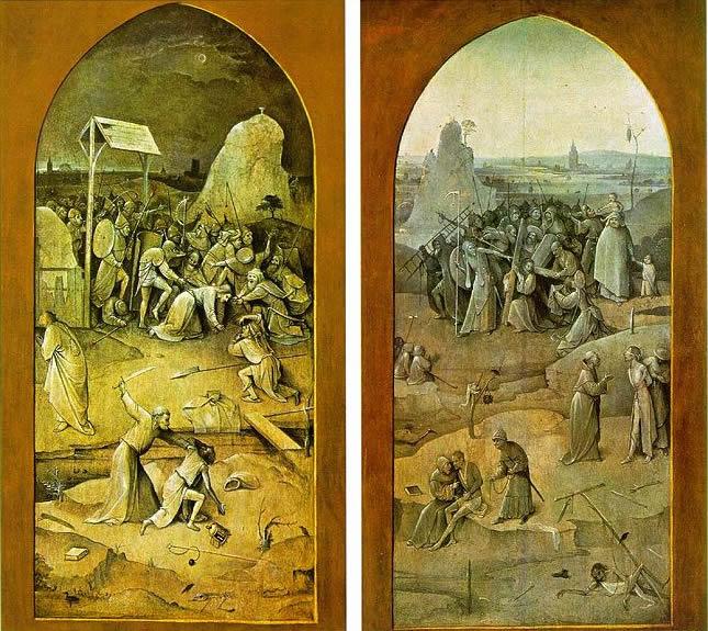 """Hieronymus Bosch: Raffigurazioni esterne delle ante: """"Cattura di Cristo"""" e """"Veronica"""""""