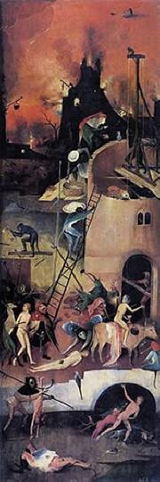 Hieronymus Bosch: anta destra del Trittico del fieno: Le costruzioni infernali