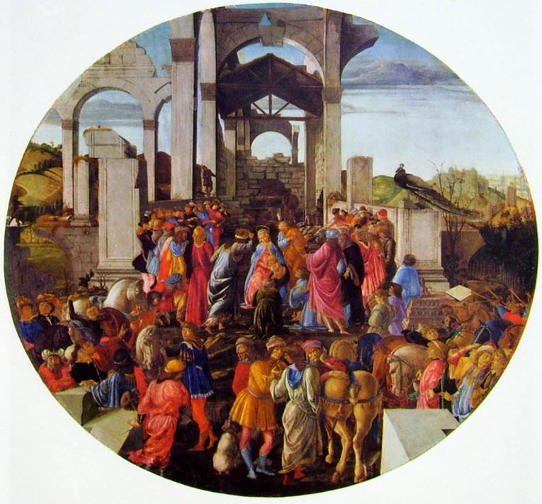 Il Botticelli: Adorazione dei magi (su tavola tonda)