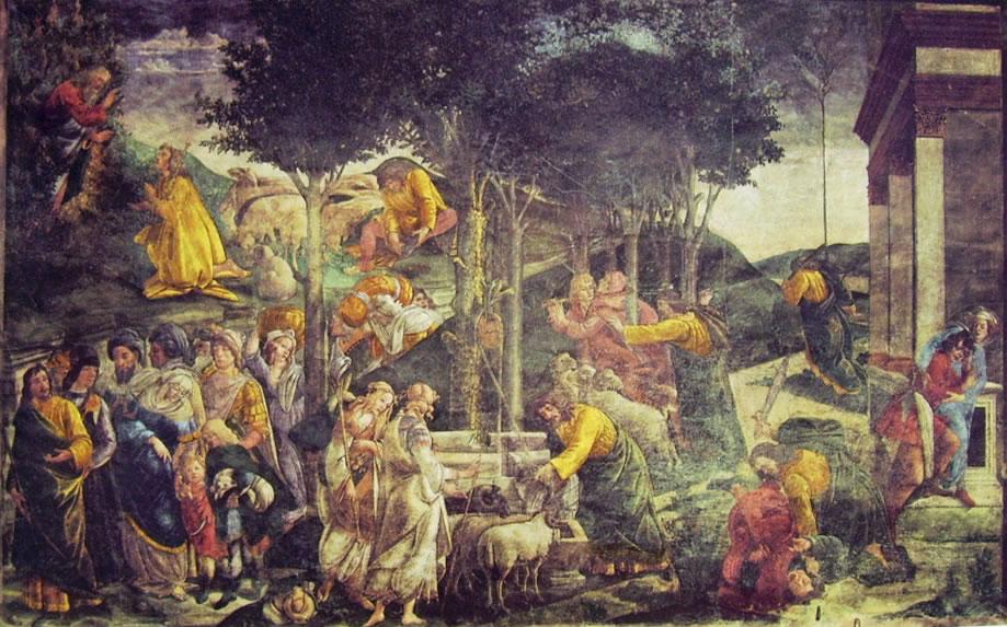 Sandro Botticelli:Prove di Mosé nella Cappella Sistina