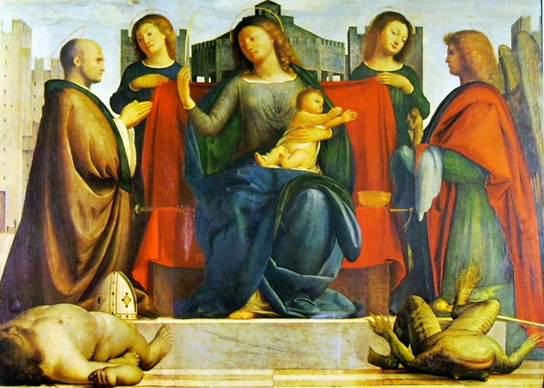 Bramantino: Madonna col bambino e due angeli tra i Santi. Ambrogio e Michele