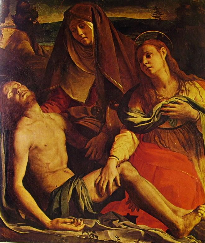 Il Bronzino: Cristo morto con la Madonna e Maddalena (Uffizi)