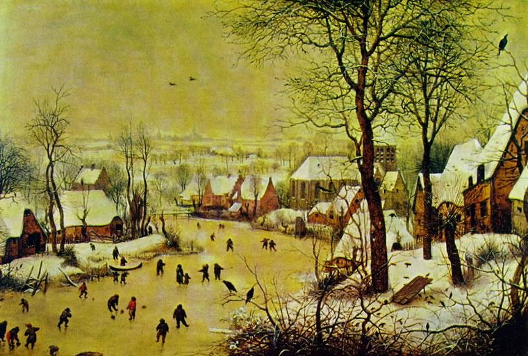 Pieter Bruegel: Paesaggio invernale con pattinatori e trappola per uccelli