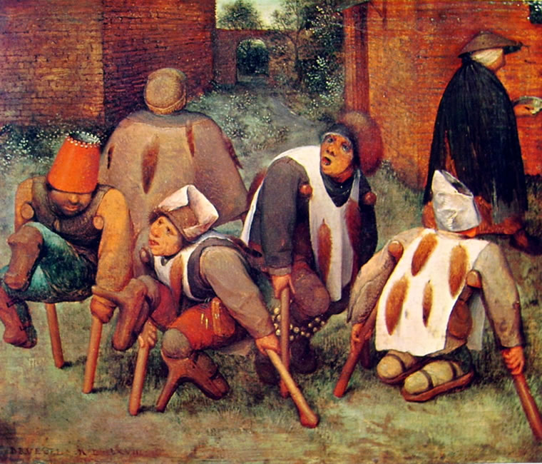 Pieter Bruegel: Gli storpi, o I mendicanti, o I lebbrosi, cm. 18 x 21, Louvre, Parigi