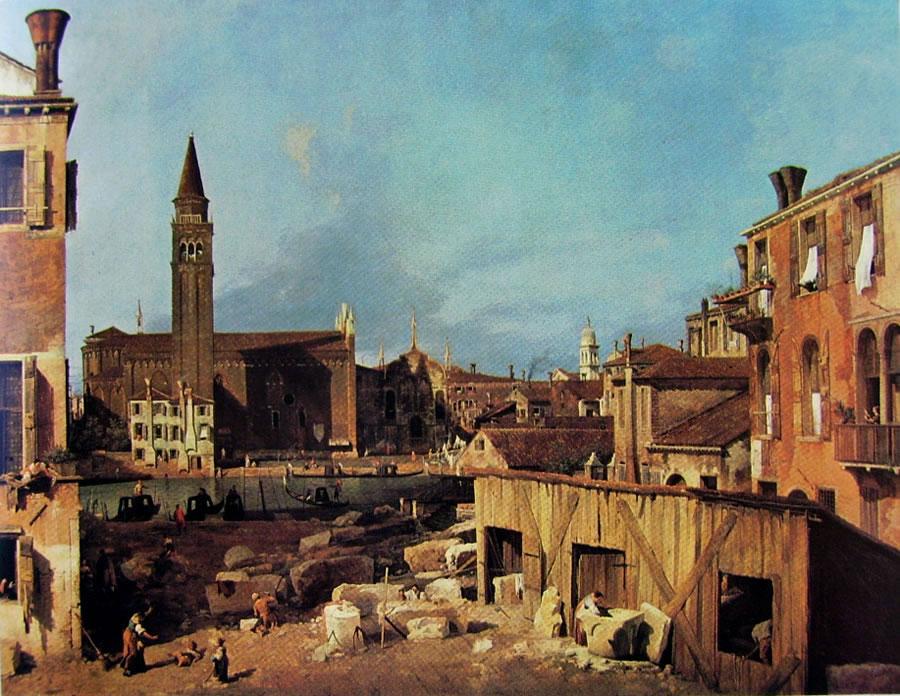 Il Canaletto: La chiesa e la scuola della carità dal laboratorio dei marmi di San Vitale