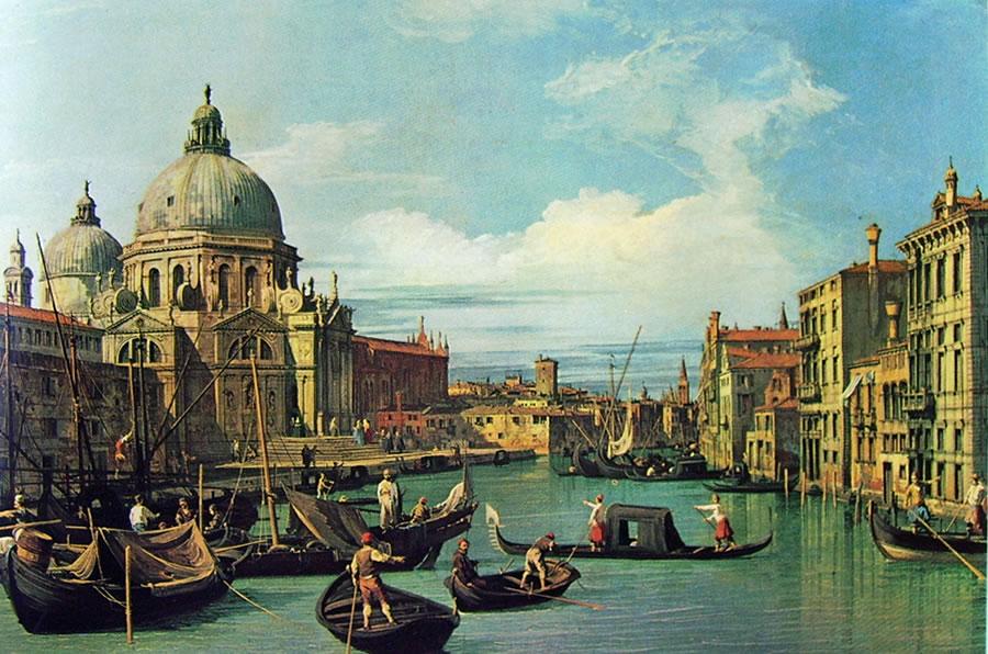 Il Canaletto: Ingresso al canal grande con la dogana e la chiesa della salute