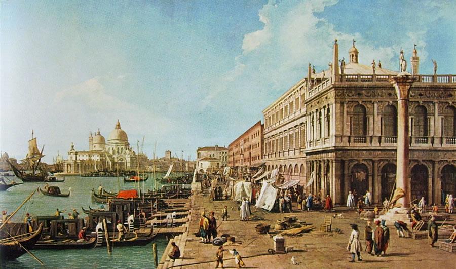 Il Canaletto: Il molo verso ovest con la libreria e la colonna di San Teodoro