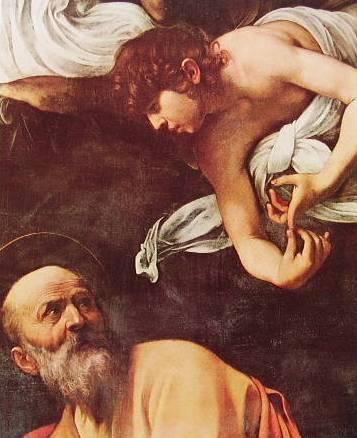 Particolare di San Matteo e dell'angelo ispiratore