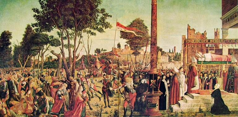 """Carpaccio: Il """"Martirio dei pellegrini"""" e del """"Funerale della santa"""""""
