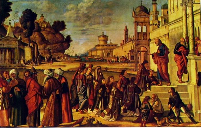 Carpaccio: Il santo e sei compagni consacrati diaconi da San Pietro
