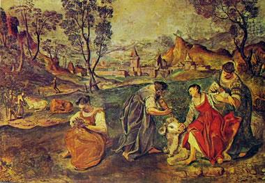 Annibale Carracci:Affreschi di Palazzo Fava - particolare del fregio nel camerino d'Europa: Europa sale sul dorso del toro