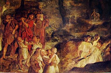 Annibale Carracci:Affreschi di Palazzo Fava - particolare del fregio nella sala di Giasone: Il simulato funerale di Giasone