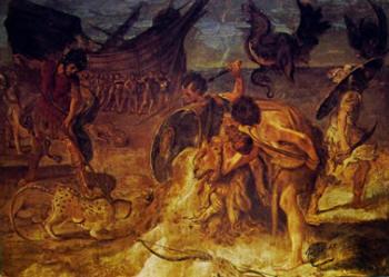 Annibale Carracci:Affreschi di Palazzo Fava - particolare del fregio nella sala di Giasone: Il trasporto della nave attraverso il deserto libico