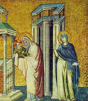 Pietro Cavallini:Presentazione al tempio lato destro