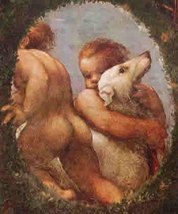 Particolare dei putti negli affreschi nella camera di San Paolo