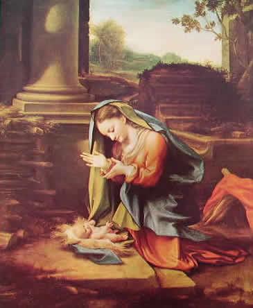 Correggio - La Madonna in adorazione del bambino (Uffizi)