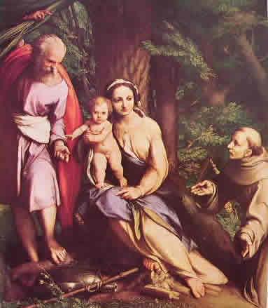 Correggio - Riposo durante la fuga in Egitto con San Francesco