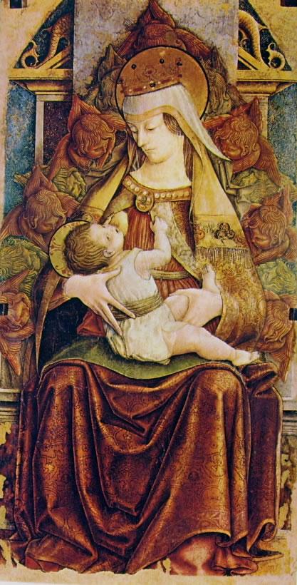 Carlo Crivelli: Madonna col Bambino in trono - Madonna che allatta tra i cherubini