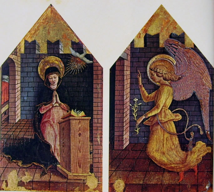 Carlo Crivelli: Polittico di Massa Fermana - La Vergine Annunziata e l'arcangelo Gabriele