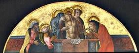 Carlo Crivelli: Polittico di Porto San Giorgio - La Pietà (Cristo morto fra la Madonna, Giovanni, Nicodemo, e Giuseppe d'Arimatea