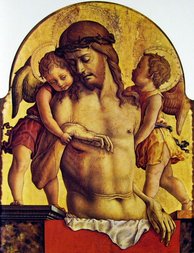 Carlo Crivelli: Polittico di Montefiore - La Pietà - Cristo morto fra due angeli