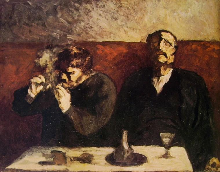 Honoré Daumier: Due uomini a un tavolino