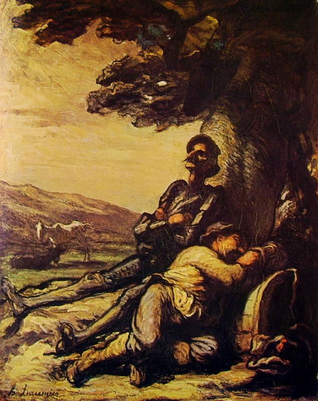 Honoré Daumier: Don Chisciotte e Sancio Pancia sotto un albero (Copenaghen)