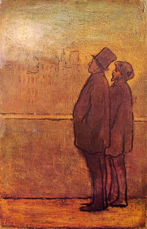 Honoré Daumier: Nottambuli (Due uomini presso un parapetto)