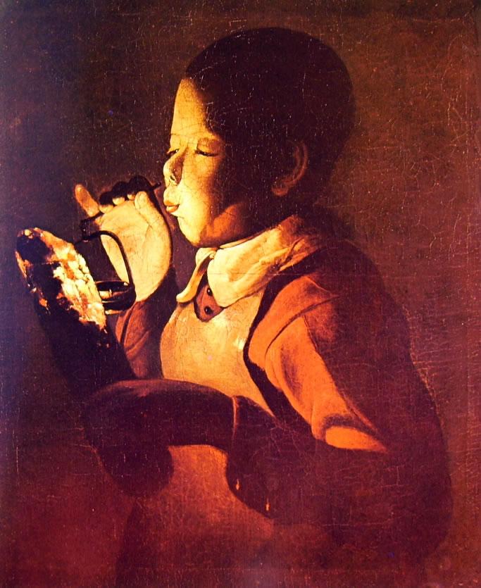 Georges de La Tour: Ragazzo che soffia su una lampada
