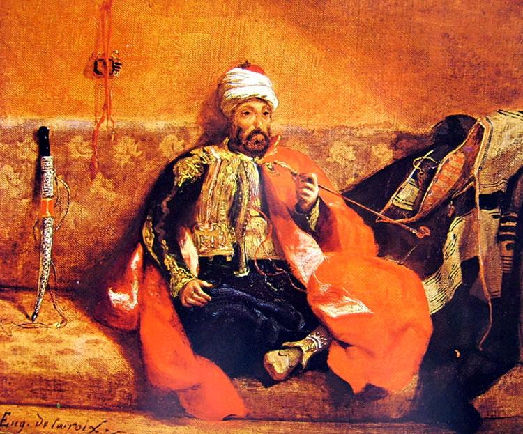 Eugène Delacroix: Turco che fuma su un divano