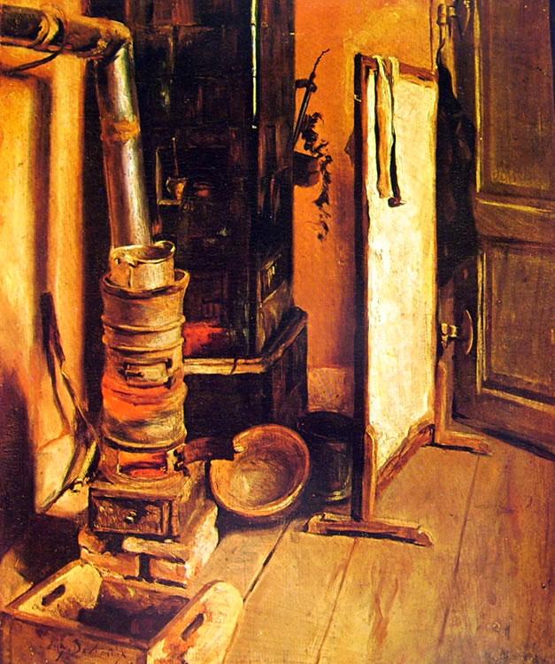 Eugène Delacroix - Angolo di studio - La stufa