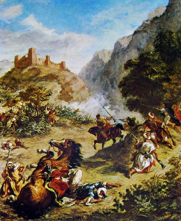 Eugène Delacroix: Combattimento di arabi tra le montagne