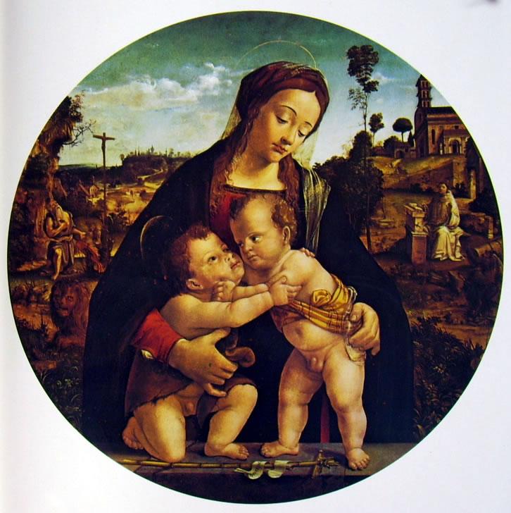 Piero di Cosimo: Madonna con il Bambino e San Giovannino (Strasburgo)