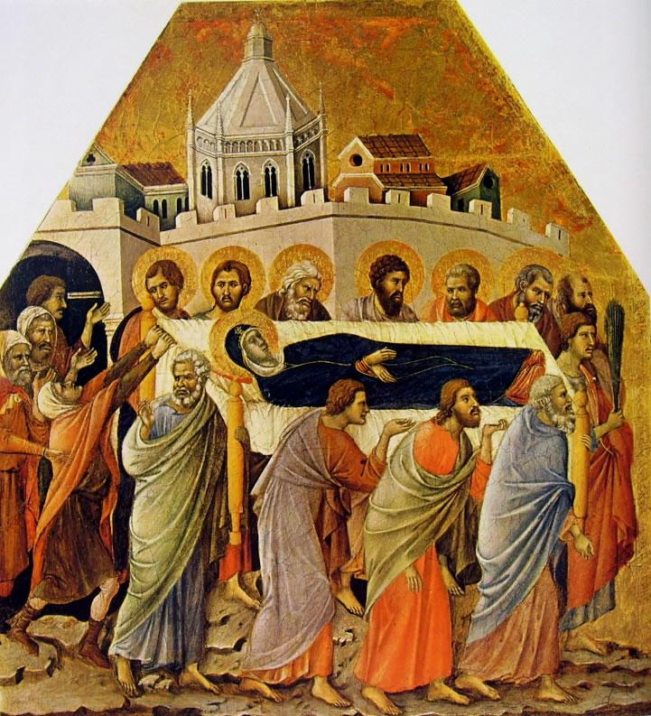 Duccio di Buoninsegna: Maestà - Coronamento (recto) - I funerali della Vergine (Museo dell'Opera)
