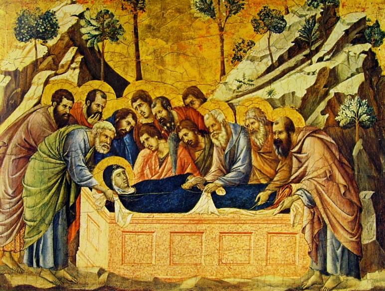 Duccio di Buoninsegna: Maestà - Coronamento (recto) - Il seppellimento della Vergine (Siena)