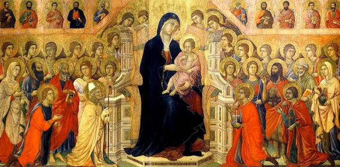 Duccio di Buoninsegna: Maestà - Registro principale (recto) - Maestà - Madonna in trono con il Bambino, venerata da angeli e santi