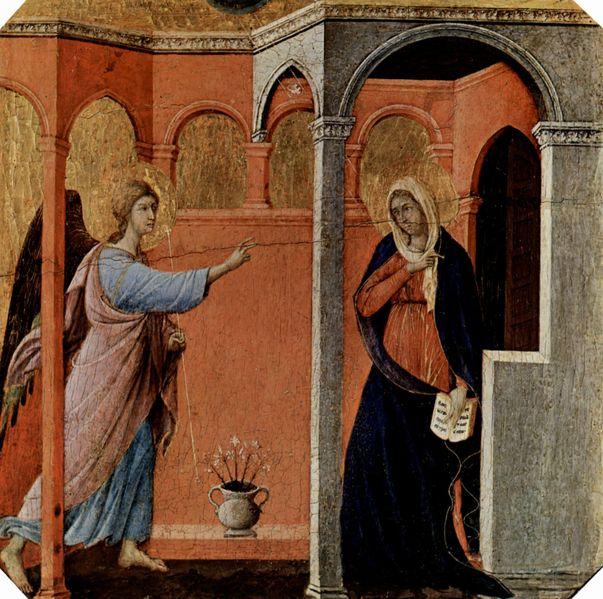 Duccio di Buoninsegna: Maestà - il recto della Predella della Maestà - L'annunciazione (Londra)